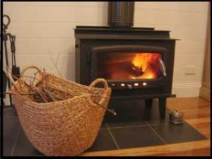 cosy wood fire - with border